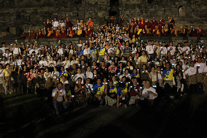 All sangha and member do Lamp offering on the  Borobudur