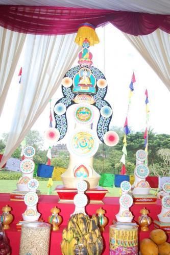 Torma at the altar (Dusum Khenpa)