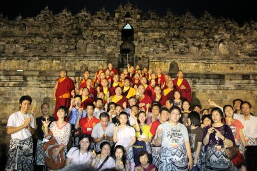 Sangha wih the member in the Borobudur temple