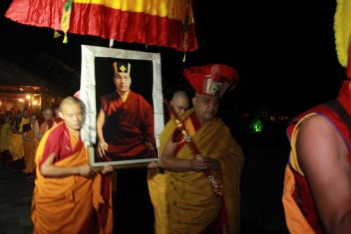 Gyaltshen Rinpoche lead the procession on the first  day