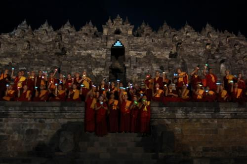 Sangha offering the lamp at the Borobudur.